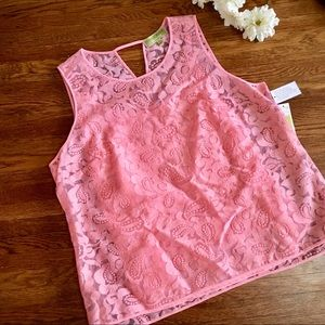 Sigrid Olsen NWT lace top w/cami XL pink shell